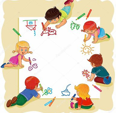 Vector illustration of happy children draw on a large sheet of paper, top view